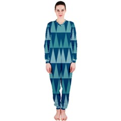 Blues Long Triangle Geometric Tribal Background Onepiece Jumpsuit (ladies)