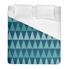 Blues Long Triangle Geometric Tribal Background Duvet Cover (full/ Double Size) by AnjaniArt