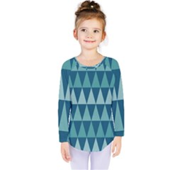 Blues Long Triangle Geometric Tribal Background Kids  Long Sleeve Tee