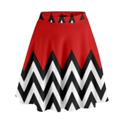 Chevron Red High Waist Skirt