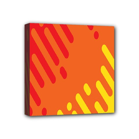 Color Minimalism Red Yellow Mini Canvas 4  X 4  by AnjaniArt