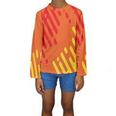 Color Minimalism Red Yellow Kids  Long Sleeve Swimwear by AnjaniArt