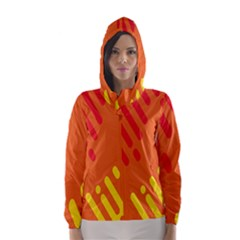 Color Minimalism Red Yellow Hooded Wind Breaker (women) by AnjaniArt