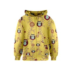 Cheery Owls Yellow Kids  Zipper Hoodie by AnjaniArt