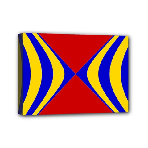 Concentric Hyperbolic Red Yellow Blue Mini Canvas 7  X 5  by AnjaniArt