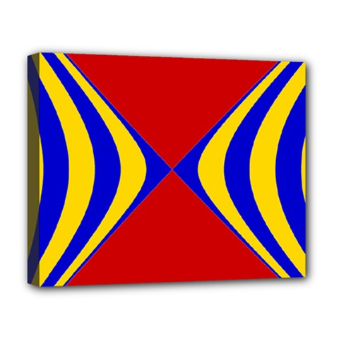 Concentric Hyperbolic Red Yellow Blue Deluxe Canvas 20  X 16   by AnjaniArt
