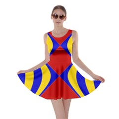 Concentric Hyperbolic Red Yellow Blue Skater Dress by AnjaniArt