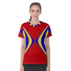 Concentric Hyperbolic Red Yellow Blue Women s Cotton Tee by AnjaniArt