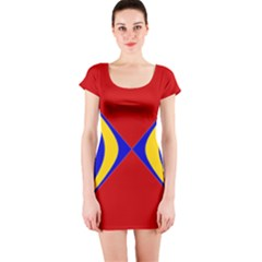 Concentric Hyperbolic Red Yellow Blue Short Sleeve Bodycon Dress by AnjaniArt