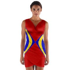 Concentric Hyperbolic Red Yellow Blue Wrap Front Bodycon Dress
