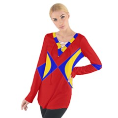 Concentric Hyperbolic Red Yellow Blue Women s Tie Up Tee by AnjaniArt