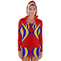 Concentric Hyperbolic Red Yellow Blue Women s Long Sleeve Hooded T Shirt by AnjaniArt