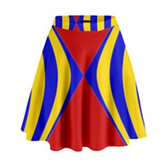 Concentric Hyperbolic Red Yellow Blue High Waist Skirt