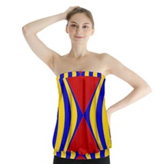 Concentric Hyperbolic Red Yellow Blue Strapless Top