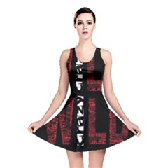 Crazy Wild Style Background Font Words Reversible Skater Dress