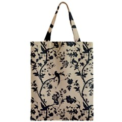 Cottonwood White Leaf Wallpaper Bird Zipper Classic Tote Bag by AnjaniArt