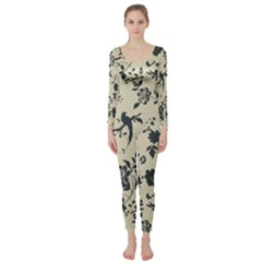 Cottonwood White Leaf Wallpaper Bird Long Sleeve Catsuit