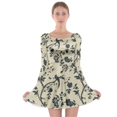 Cottonwood White Leaf Wallpaper Bird Long Sleeve Skater Dress by AnjaniArt