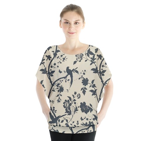 Cottonwood White Leaf Wallpaper Bird Blouse by AnjaniArt