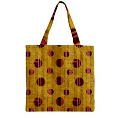 Dot Mustard Zipper Grocery Tote Bag by AnjaniArt