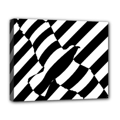 Flaying Bird Black White Deluxe Canvas 20  X 16   by AnjaniArt