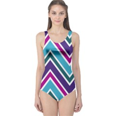 Fetching Chevron White Blue Purple Green Colors Combinations Cream Pink Pretty Peach Gray Glitter Re One Piece Swimsuit