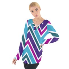 Fetching Chevron White Blue Purple Green Colors Combinations Cream Pink Pretty Peach Gray Glitter Re Women s Tie Up Tee