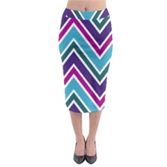 Fetching Chevron White Blue Purple Green Colors Combinations Cream Pink Pretty Peach Gray Glitter Re Midi Pencil Skirt by AnjaniArt