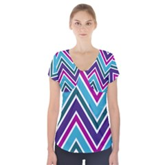 Fetching Chevron White Blue Purple Green Colors Combinations Cream Pink Pretty Peach Gray Glitter Re Short Sleeve Front Detail Top