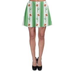 Flower Background Green Skater Skirt
