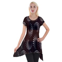 Free Dot Spiral Seamless Short Sleeve Side Drop Tunic