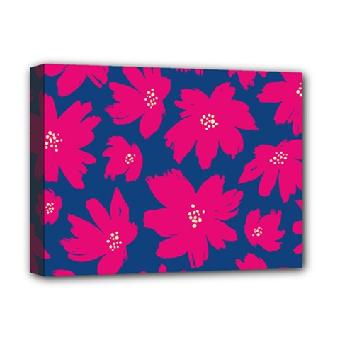 Flower Red Blue Deluxe Canvas 16  X 12
