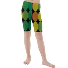 Geometry Round Colorful Kids  Mid Length Swim Shorts by AnjaniArt