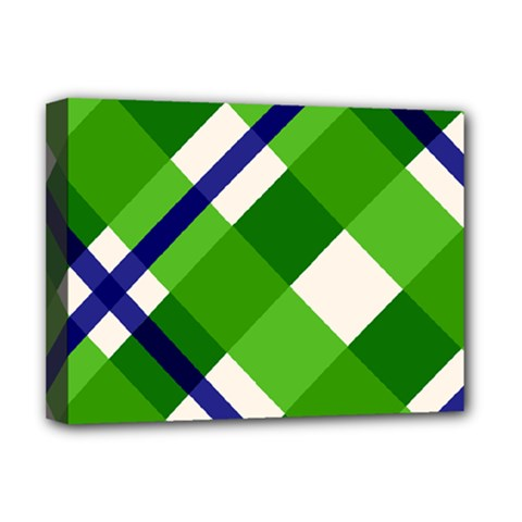 Green Plaid Deluxe Canvas 16  X 12   by AnjaniArt