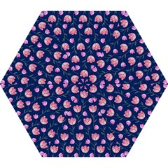 Flower Tulip Floral Pink Blue Mini Folding Umbrellas by AnjaniArt