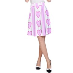 Heart Pink Valentine Day A Line Skirt by AnjaniArt