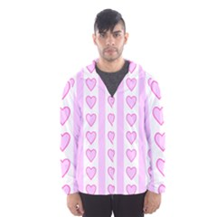 Heart Pink Valentine Day Hooded Wind Breaker (men) by AnjaniArt