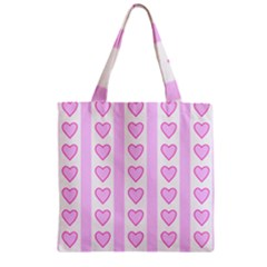 Heart Pink Valentine Day Zipper Grocery Tote Bag by AnjaniArt