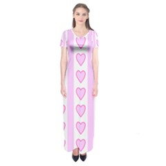 Heart Pink Valentine Day Short Sleeve Maxi Dress
