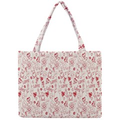 Heart Surface Kiss Flower Bear Love Valentine Day Mini Tote Bag by AnjaniArt