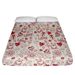 Heart Surface Kiss Flower Bear Love Valentine Day Fitted Sheet (king Size) by AnjaniArt
