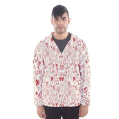 Heart Surface Kiss Flower Bear Love Valentine Day Hooded Wind Breaker (men) by AnjaniArt