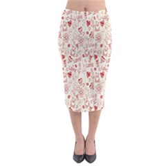 Heart Surface Kiss Flower Bear Love Valentine Day Midi Pencil Skirt by AnjaniArt