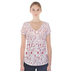 Heart Surface Kiss Flower Bear Love Valentine Day Short Sleeve Front Detail Top by AnjaniArt