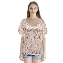Heart Surface Kiss Flower Bear Love Valentine Day Flutter Sleeve Top by AnjaniArt