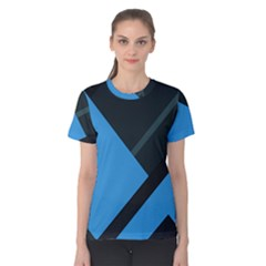 Lines Textur  Stripes Blue Women s Cotton Tee by AnjaniArt