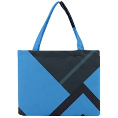Lines Textur  Stripes Blue Mini Tote Bag by AnjaniArt