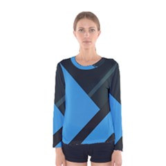 Lines Textur  Stripes Blue Women s Long Sleeve Tee by AnjaniArt