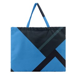 Lines Textur  Stripes Blue Zipper Large Tote Bag by AnjaniArt