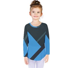 Lines Textur  Stripes Blue Kids  Long Sleeve Tee by AnjaniArt